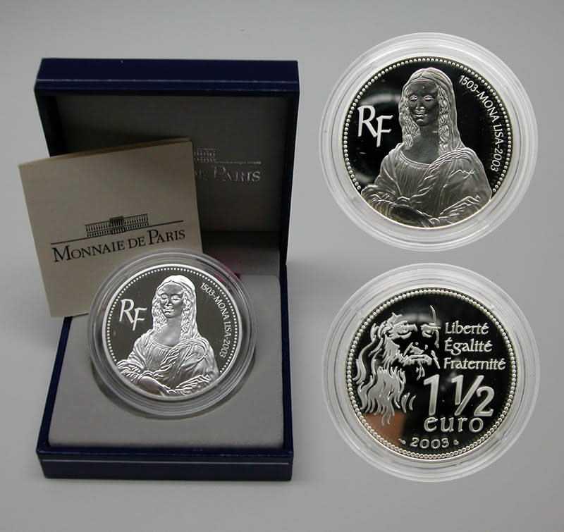 Lieferumfang:Frankreich : 1,5 Euro Mona Lisa, inkl. Originaletui und Zertifikat  2003 PP