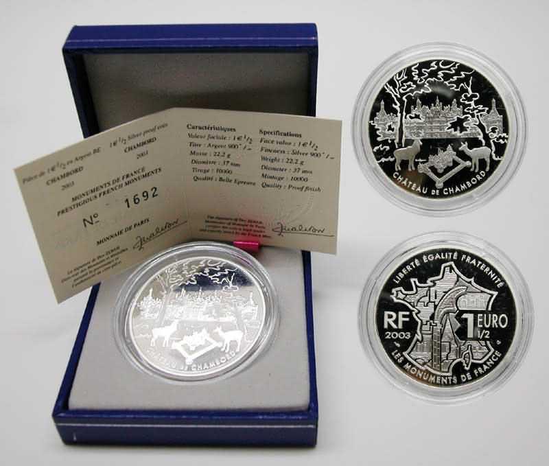 Lieferumfang:Frankreich : 1,5 Euro Chambord inkl. Originaletui und Zertifikat  2003 PP