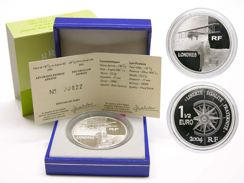 Lieferumfang:Frankreich : 1,5 Euro Doppeldecker inkl. Originaletui und Zertifikat  2004 PP