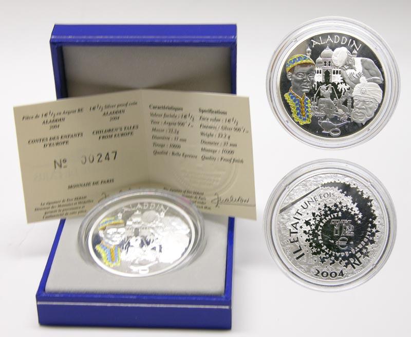 Lieferumfang:Frankreich : 1,5 Euro Aladin inkl. Zertifikat und Originaletui  2004 PP