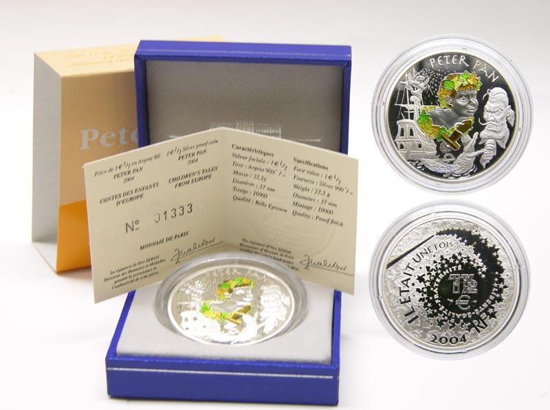Lieferumfang:Frankreich : 1,5 Euro Peter Pan inkl. Zertifikat und Originaletui  2004 PP