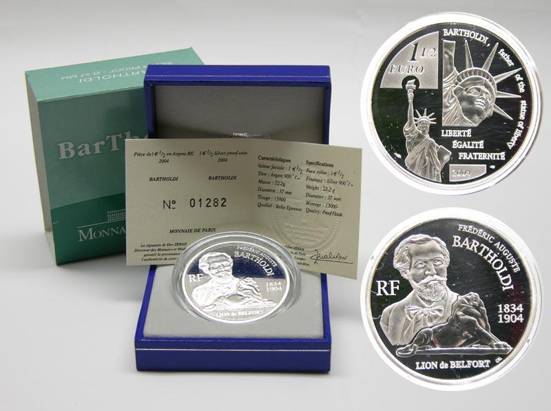 Lieferumfang:Frankreich : 1,5 Euro Bartholdi inkl. Originaletui und Zertifikat  2004 PP