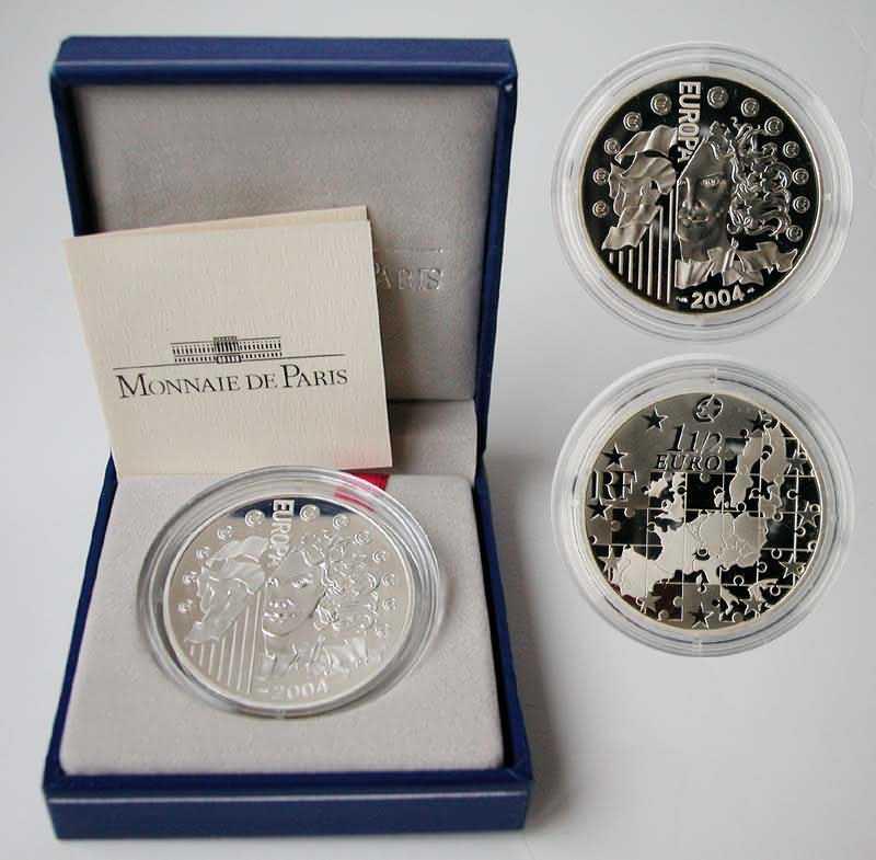 Lieferumfang:Frankreich : 1,5 Euro Europa-Münze, incl. Originaletui und Zertifikat  2004 PP