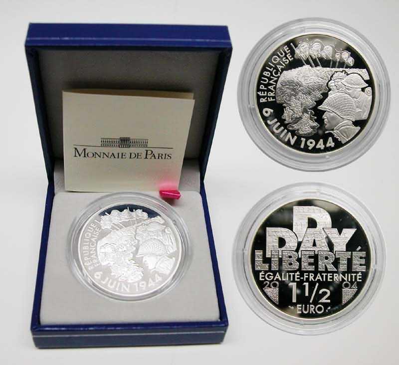 Lieferumfang:Frankreich : 1,5 Euro 60. Jahrestag D-Day inkl. Originaletui und Zertifikat  2004 PP