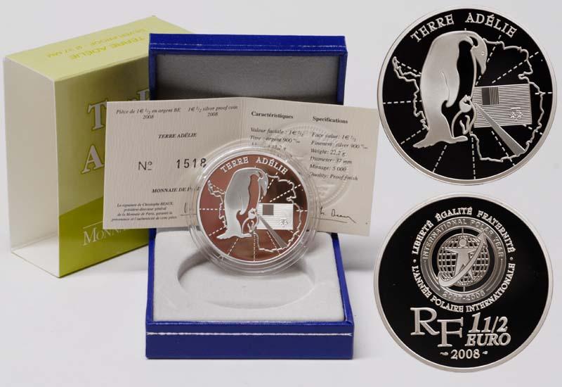 Lieferumfang:Frankreich : 1,5 Euro Adelie Land  2008 PP 1,5 Euro Polarjahr 2008