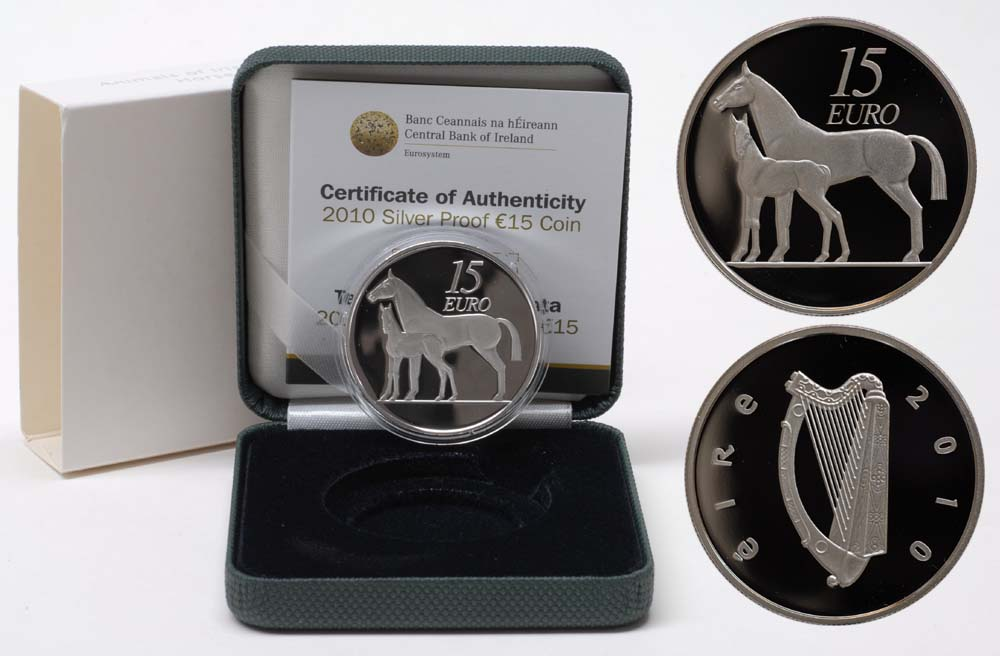 Lieferumfang:Irland : 15 Euro Pferd inkl. Originaletui und Zertifikat  2010 PP