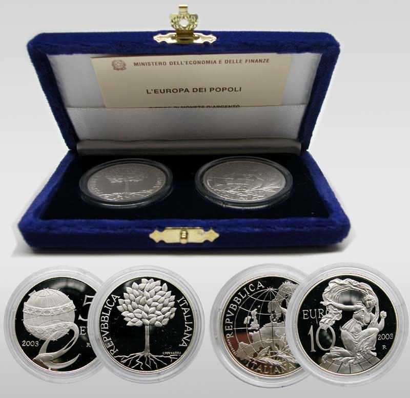 Lieferumfang:Italien : 15 Euro Set : 5 + 10 Euro Europa des Volkes  2003 PP