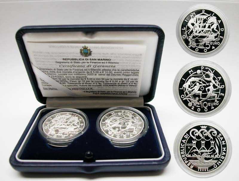Lieferumfang:San Marino : 15 Euro 5+ 10 Euro Gedenkmünzen in Originalkassette mit Zertifikat  2003 PP