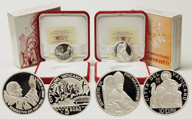 Vatikan : 15 Euro Set: 5 + 10 Euro Weltjugendtag Sydney, 41. Weltfriedenstag inkl. Originaletui und Zertifikat  2008 PP 5+10 Euro Vatikan 2008