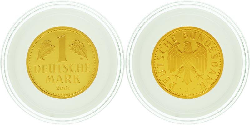 Lieferumfang:Deutschland : 1 DM Goldmünze -Mzz. unserer Wahl.  2001 Stgl. Goldmark