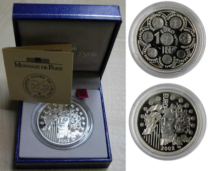Lieferumfang:Frankreich : 1,5 Euro Europa-Münze, incl. Originaletui und Zertifikat  2002 PP