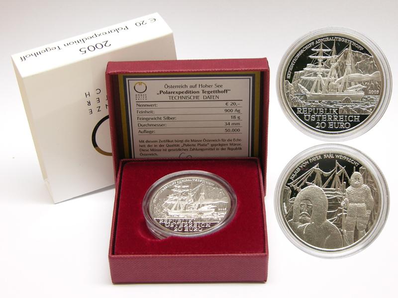 Lieferumfang:Österreich : 20 Euro Polarexpedition Tegetthoff  2005 PP