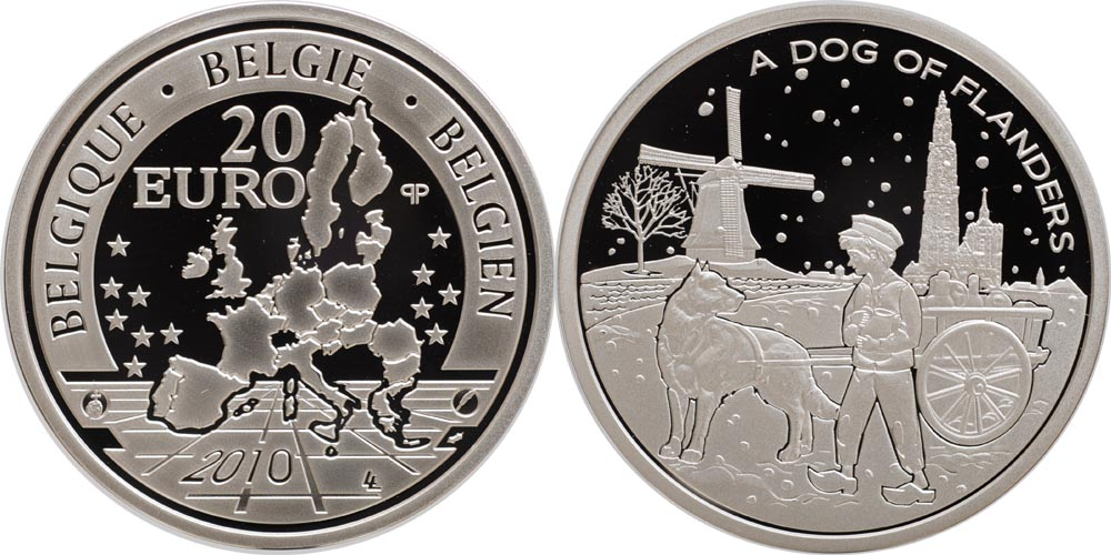 Lieferumfang:Belgien : 20 Euro A Dog of Flanders in Originalkapsel  2010 PP