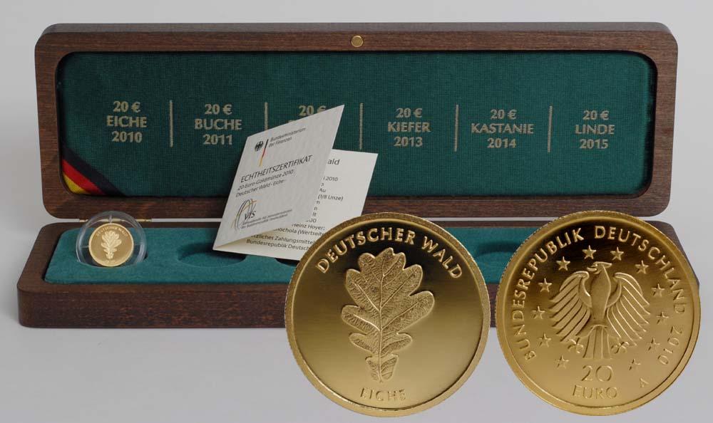 Deutschland : 20 Euro Eiche Komplettsatz 5 Münzen inkl. Holzkassetten  2010 Stgl. Komplettsatz 20 Euro Eiche 2010