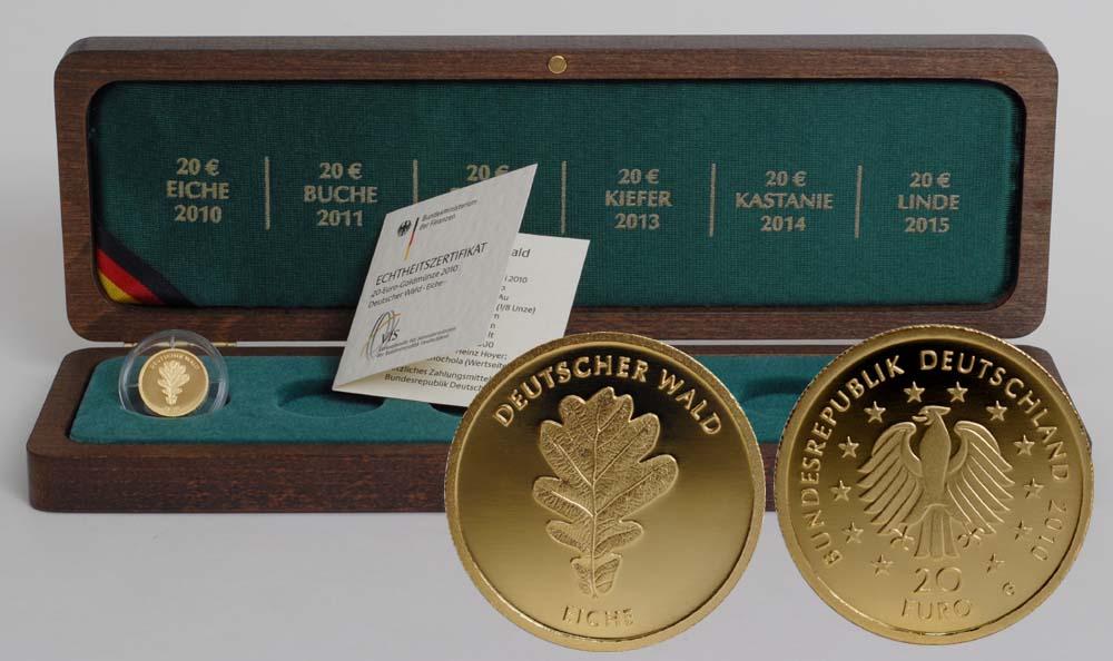 Übersicht:Deutschland : 20 Euro Eiche inkl. Holzkassette  2010 Stgl. Deutschland 20 Euro Eiche