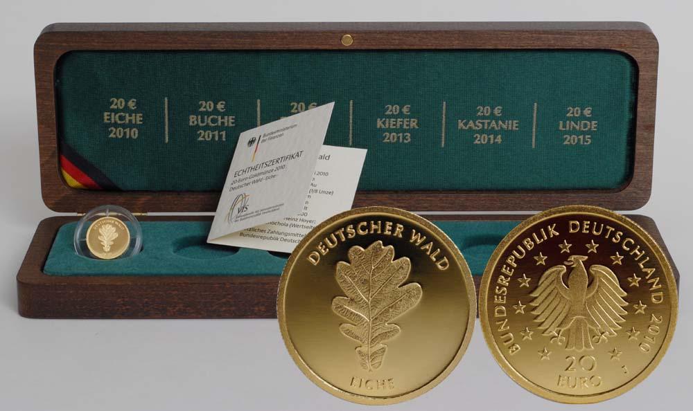 Deutschland : 20 Euro Eiche inkl. Holzkassette Buchstabe unserer Wahl  2010 Stgl. Deutschland 20 Euro Eiche Goldmünze