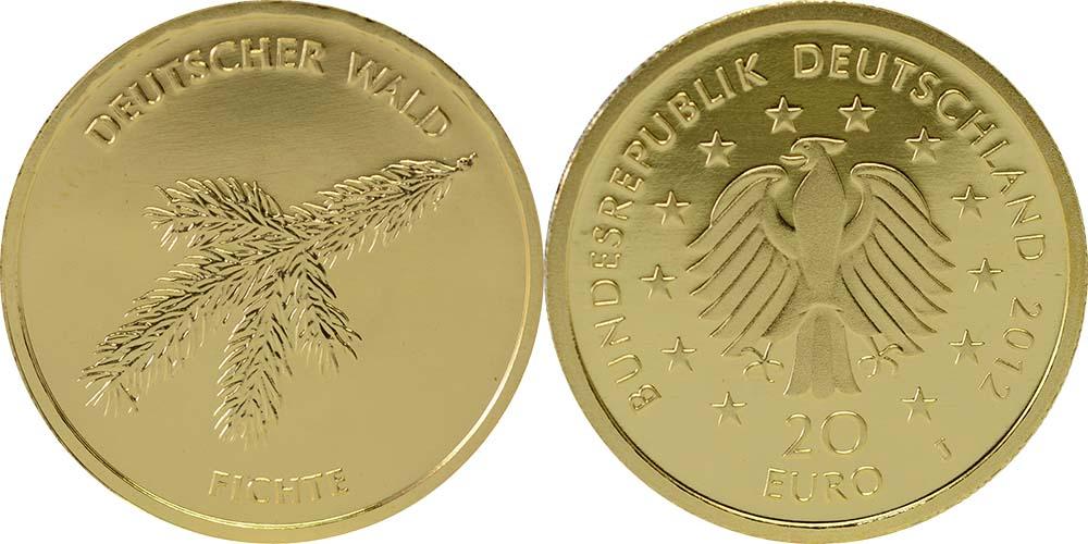 Übersicht:Deutschland : 20 Euro Fichte Buchstabe unserer Wahl  2012 Stgl.