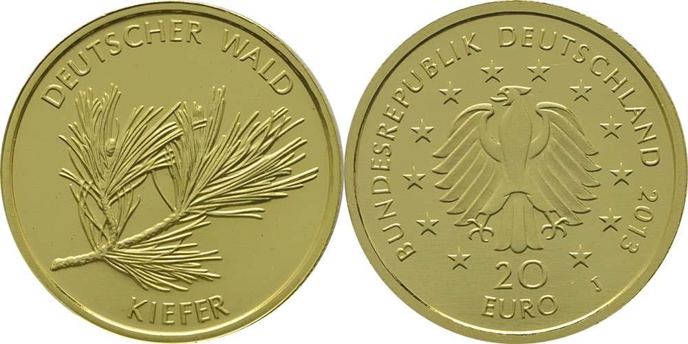Deutschland 20 Euro Kiefer 2013 J Gold Stgl 230 Euro