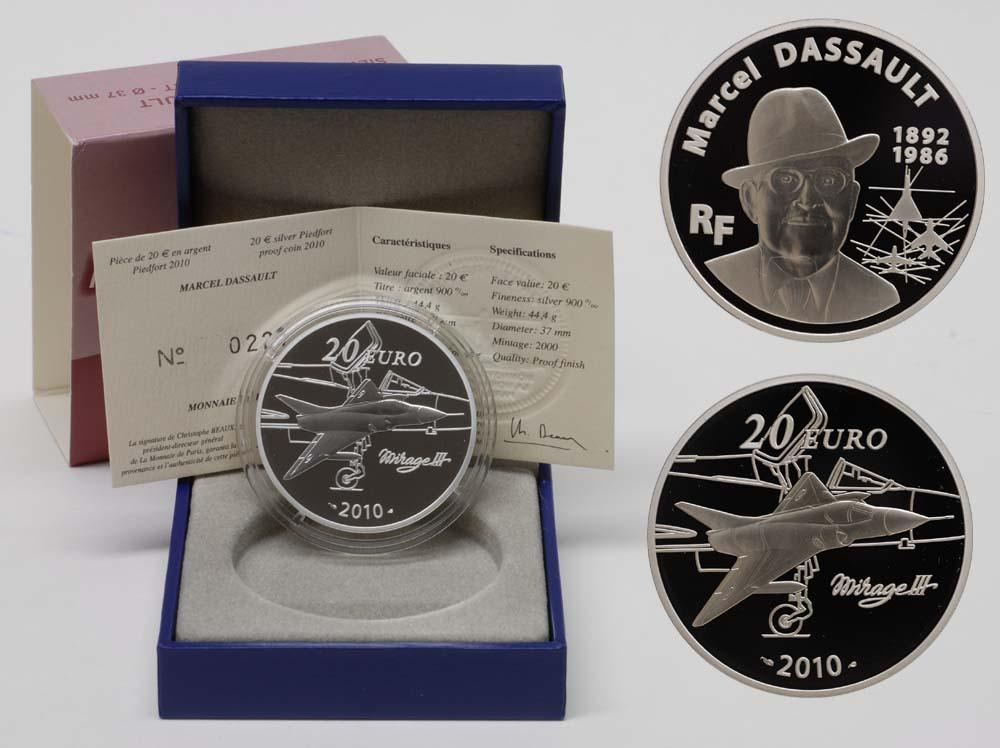Lieferumfang:Frankreich : 20 Euro Marcel Dassault Piédfort inkl. Originaletui und Zertifikat  2010 PP