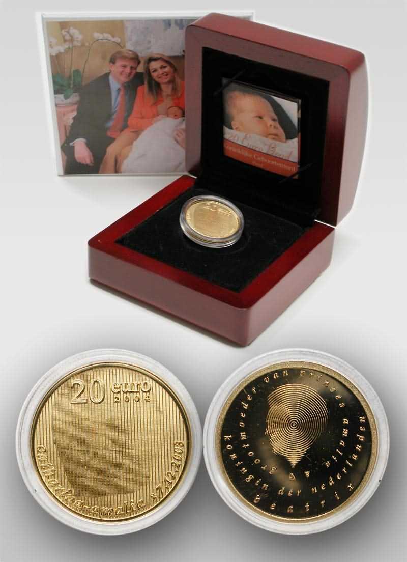 Lieferumfang:Niederlande : 20 Euro Geburt Prinzessin Catharina-Amalia in Originalverpackung  2004 PP
