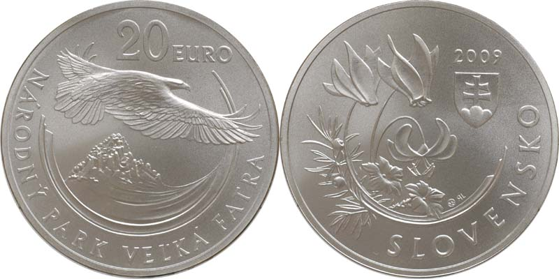 Lieferumfang:Slowakei : 20 Euro Nationalpark Velka Fatra in Originalkapsel  2009 Stgl.