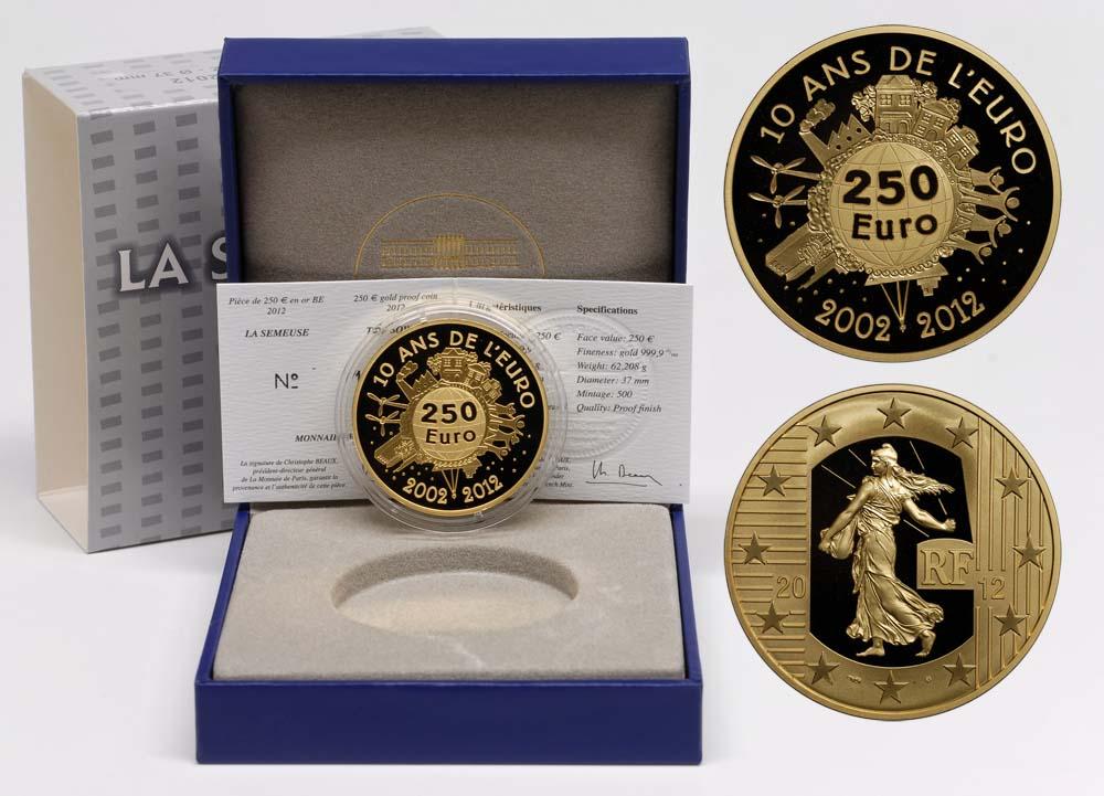 Lieferumfang:Frankreich : 250 Euro 10 Jahre Euro Bargeld  2012 PP