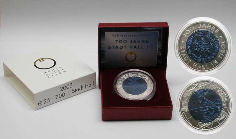 Österreich : 25 Euro 700 Jahre Stadt Hall  2003 Stgl.