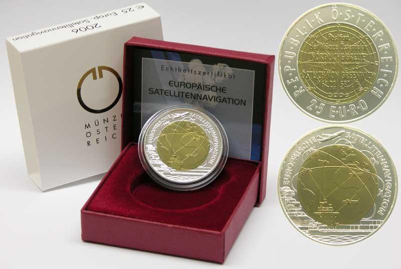 Österreich : 25 Euro Europäische Satellitennavigation (NIOB)  2006 Stgl. Österreich NIOB 2006;25 Euro Satellitennavigation