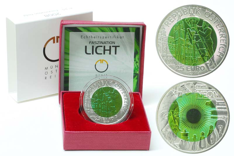 �sterreich : 25 Euro Faszination Licht  2008 Stgl. �sterreich 25 Euro Niob 2008