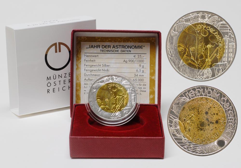 Österreich : 25 Euro Jahr der Astronomie  2009 Stgl. 25 Euro Niob 2009; 25 Euro Astronomie 2009