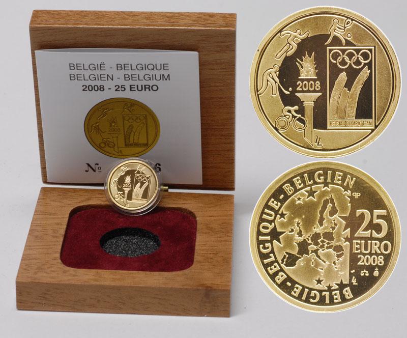 Lieferumfang:Belgien : 25 Euro Olympische Spiele inkl. Originaletui und Zertifikat  2008 PP
