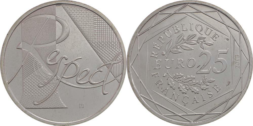 Lieferumfang:Frankreich : 25 Euro Respekt  2013 Stgl.