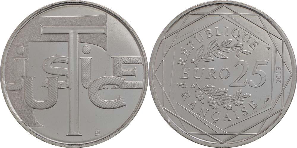Lieferumfang:Frankreich : 25 Euro Gerechtigkeit  2013 Stgl.
