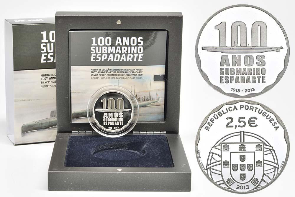 Lieferumfang:Portugal : 2,5 Euro 100 Jahre erstes portugiesisches U-Boot  2013 PP
