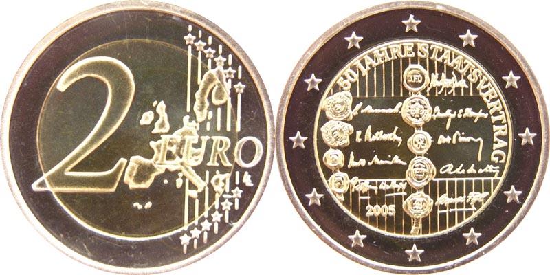 Lieferumfang:Österreich : 2 Euro 50 Jahre Staatsvertrag  2005 bfr