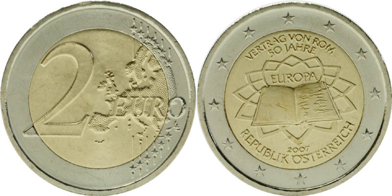 Übersicht:International : 2 Euro Römische Verträge, Set aus 12 Münzen = 12 Länder : Belgien, Deutschland, Finnland, Frankreich, Griechenland, Irland, Italien, Luxemburg, Niederlande, Österreich, Portugal, Spanien  2007 bfr 2 Euro Römische Verträge