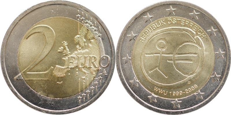 Übersicht:Österreich : 2 Euro 10 Jahre Euro  2009 bfr