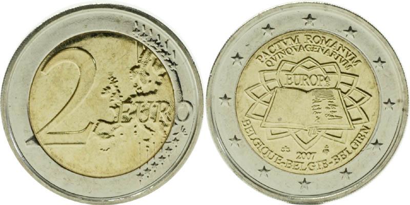 Belgien : 2 Euro Römische Verträge  2007 bfr