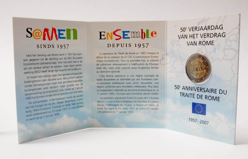 Lieferumfang:Belgien : 2 Euro Römische Verträge im Originalblister  2007 P/L