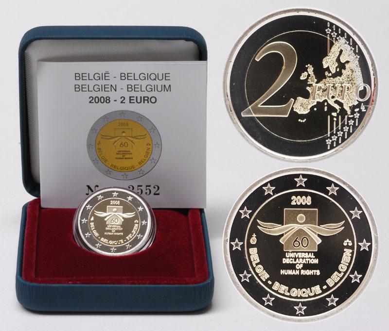 Lieferumfang:Belgien : 2 Euro Menschenrechte  2008 PP 2 Euro Belgien 2008 PP