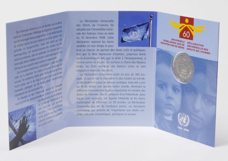 Belgien : 2 Euro Menschenrechte im Originalblister  2008 Stgl. 2 Euro Menschenrechte Belgien 2008