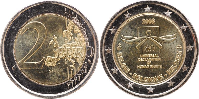 Belgien : 2 Euro Menschenrechte  2008 bfr 2 Euro Menschenrechte 2008 Belgien