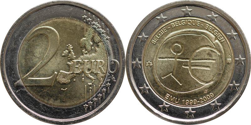 Belgien : 2 Euro 10 Jahre Euro  2009 bfr
