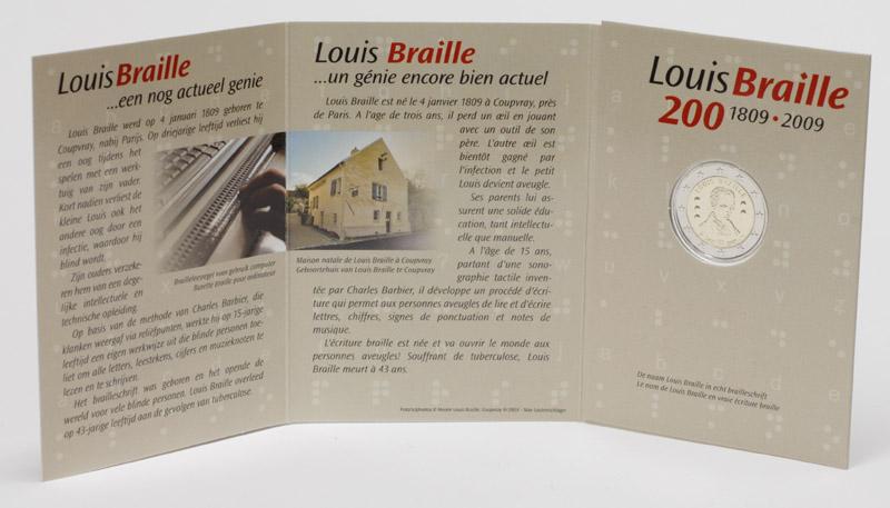 Belgien : 2 Euro Louis Braille  2009 Stgl.