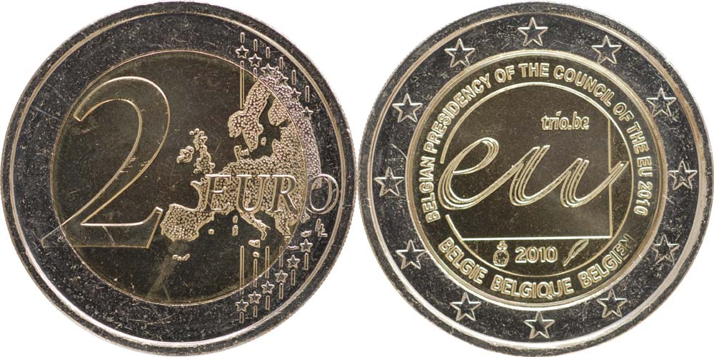 Lieferumfang:Belgien : 2 Euro EU-Präsidentschaft  2010 bfr 2 Euro Belgien 2010