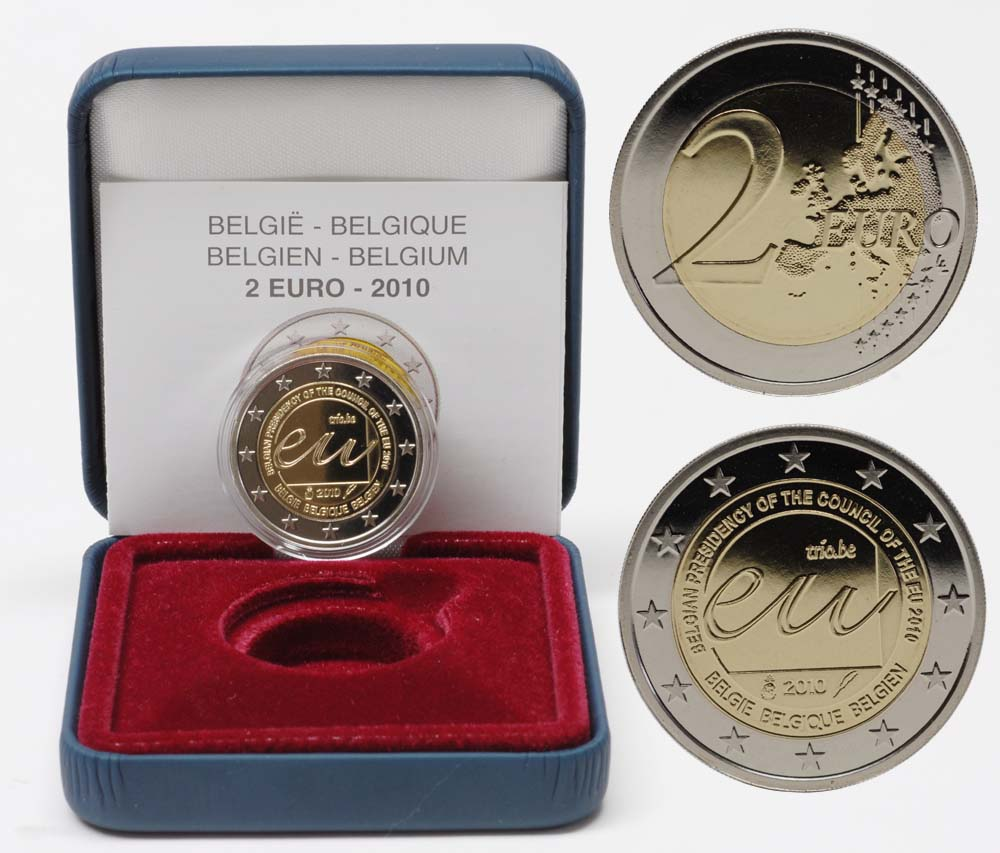 Lieferumfang:Belgien : 2 Euro EU-Präsidentschaft  2010 PP Belgien 2 Euro 2010 PP EU-Präsidentschaft