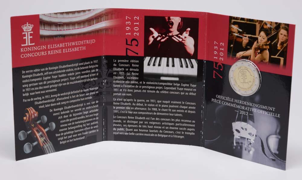 Belgien : 2 Euro 75 J. Königin-Elisabeth Internationaler Musikwettbewerb  2012 Stgl.