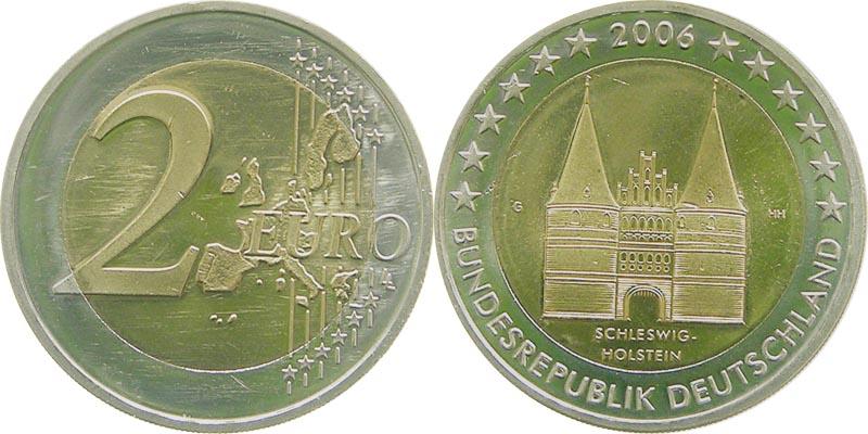 Deutschland : 2 Euro 5 x 2 Euro Holstentor A-J kompletter Satz  2006 bfr 2 Euro Deutschland 2006; 2 Euro Holstentor