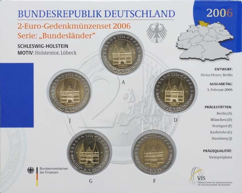 Deutschland : 2 Euro Schleswig - Holstein Holstentor Lübeck Komplettsatz im Originalblister  2006 Stgl.