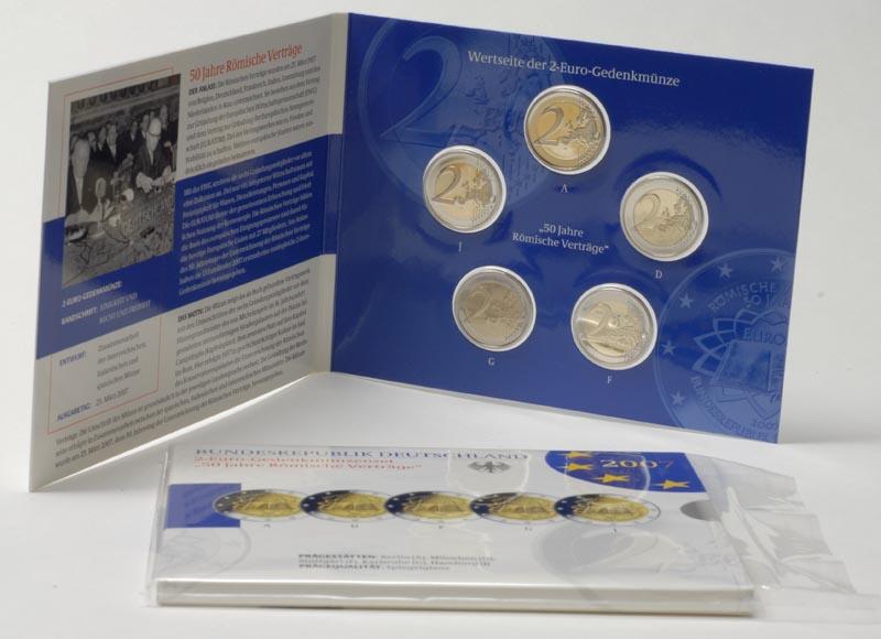 Deutschland : 2 Euro Set im Originalblister 5 x 2 Euro R�mische Vertr�ge  2007 PP